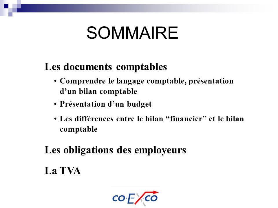 SOMMAIRE Les documents comptables Les obligations des employeurs La TVA Comprendre le langage comptable, présentation dun bilan comptable Présentation