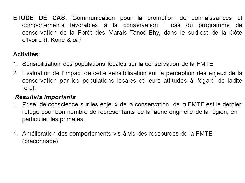 ETUDE DE CAS: Communication pour la promotion de connaissances et comportements favorables à la conservation : cas du programme de conservation de la