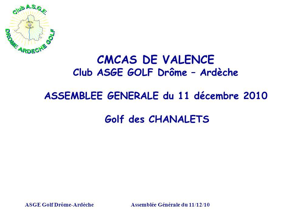 ASGE Golf Drôme-ArdècheAssemblée Générale du 11/12/10 CMCAS DE VALENCE Club ASGE GOLF Drôme – Ardèche ASSEMBLEE GENERALE du 11 décembre 2010 Golf des