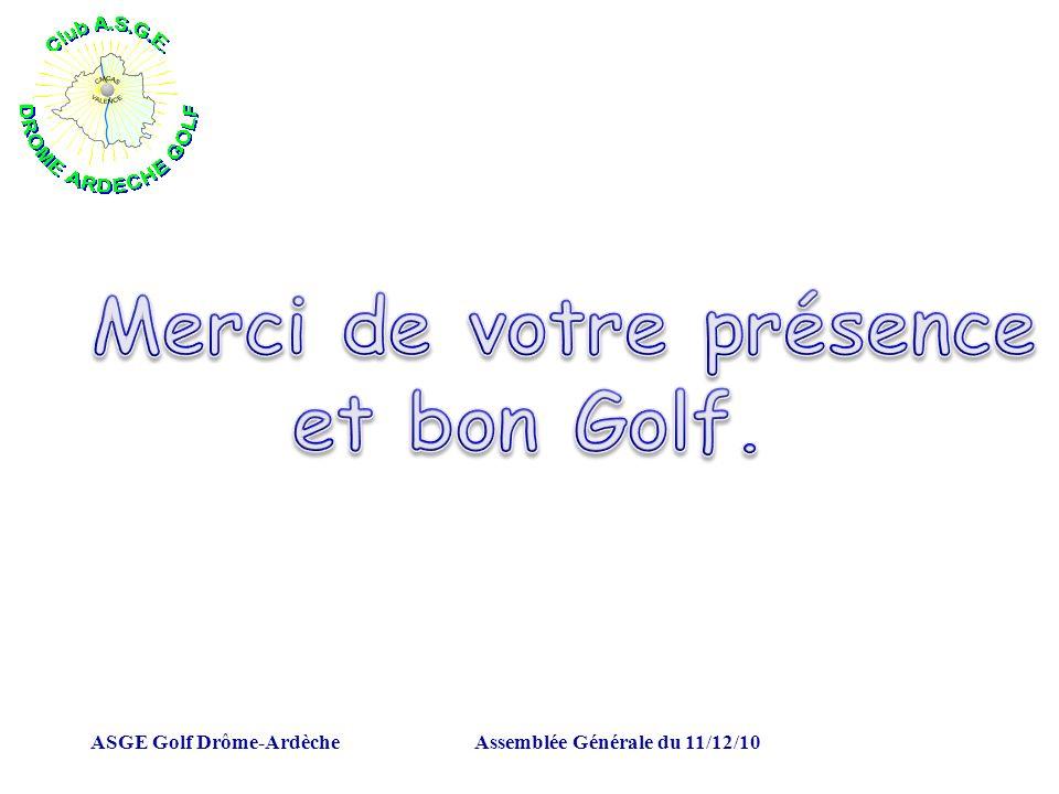 ASGE Golf Drôme-ArdècheAssemblée Générale du 11/12/10