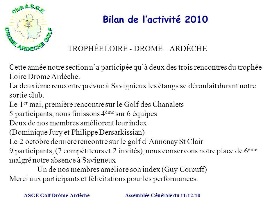 ASGE Golf Drôme-ArdècheAssemblée Générale du 11/12/10 Bilan de lactivité 2010 TROPHÉE LOIRE - DROME – ARDÈCHE Cette année notre section na participée