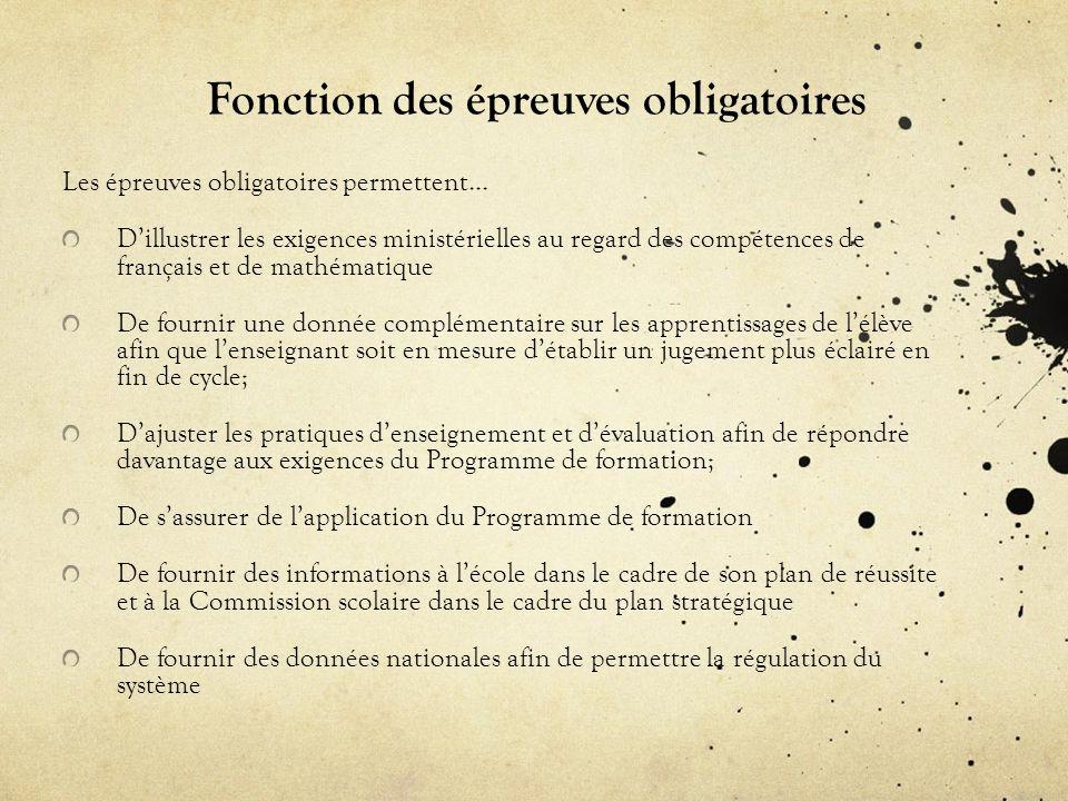 Fonction des épreuves obligatoires Les épreuves obligatoires permettent… Dillustrer les exigences ministérielles au regard des compétences de français