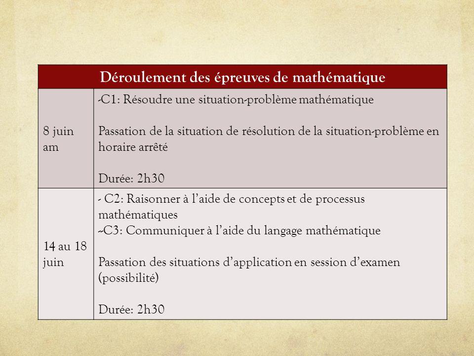 Déroulement des épreuves de mathématique 8 juin am -C1: Résoudre une situation-problème mathématique Passation de la situation de résolution de la sit