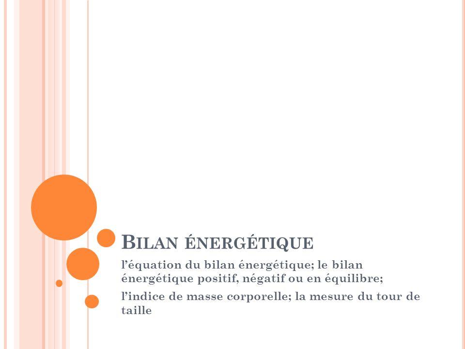 B ILAN ÉNERGÉTIQUE léquation du bilan énergétique; le bilan énergétique positif, négatif ou en équilibre; lindice de masse corporelle; la mesure du to