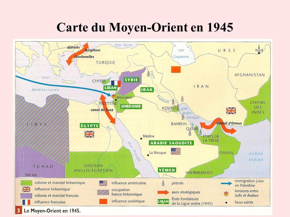 Carte du Moyen-Orient en 1945