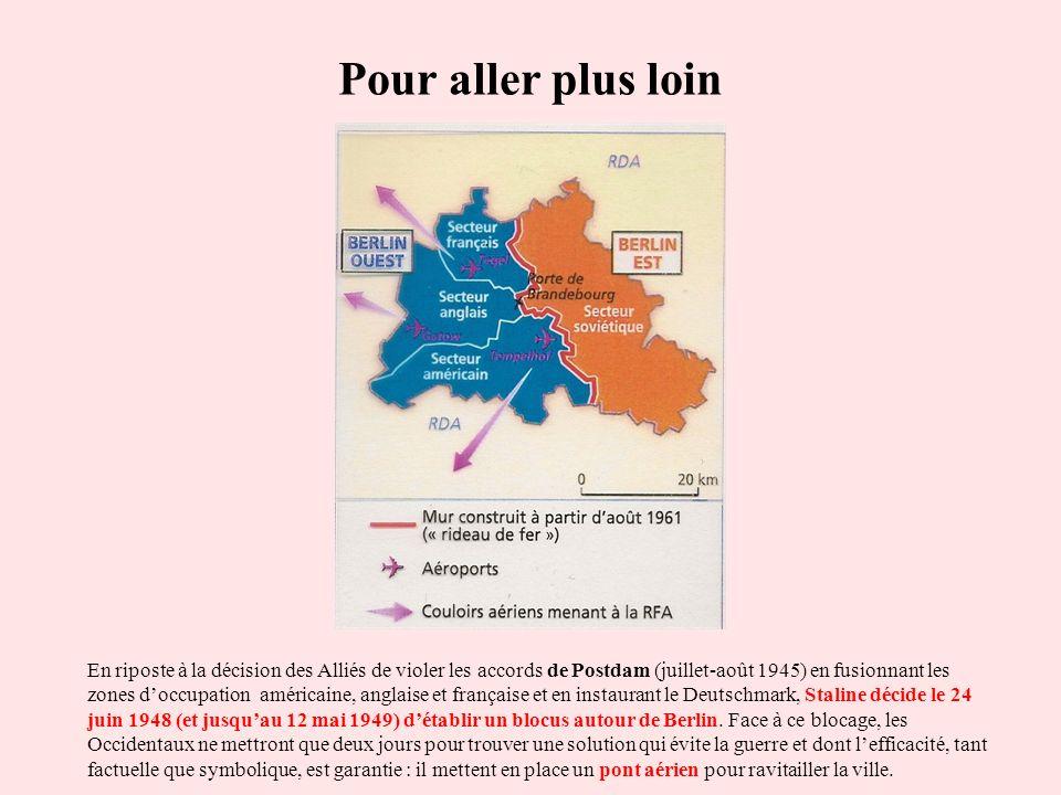 Pour aller plus loin En riposte à la décision des Alliés de violer les accords de Postdam (juillet-août 1945) en fusionnant les zones doccupation amér