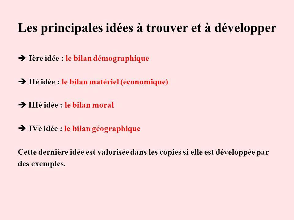Les principales idées à trouver et à développer Ière idée : le bilan démographique IIè idée : le bilan matériel (économique) IIIè idée : le bilan mora