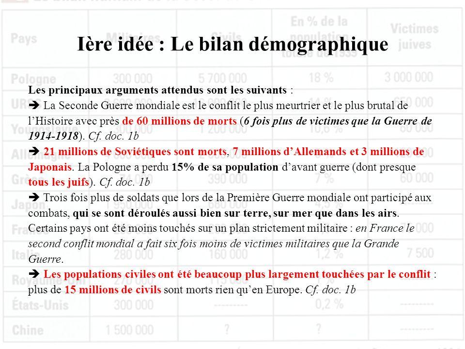 Ière idée : Le bilan démographique Les principaux arguments attendus sont les suivants : La Seconde Guerre mondiale est le conflit le plus meurtrier e