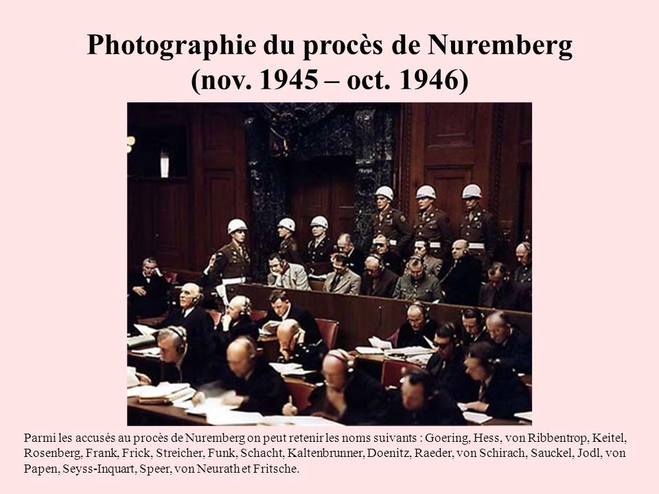 Photographie du procès de Nuremberg (nov. 1945 – oct. 1946) Parmi les accusés au procès de Nuremberg on peut retenir les noms suivants : Goering, Hess