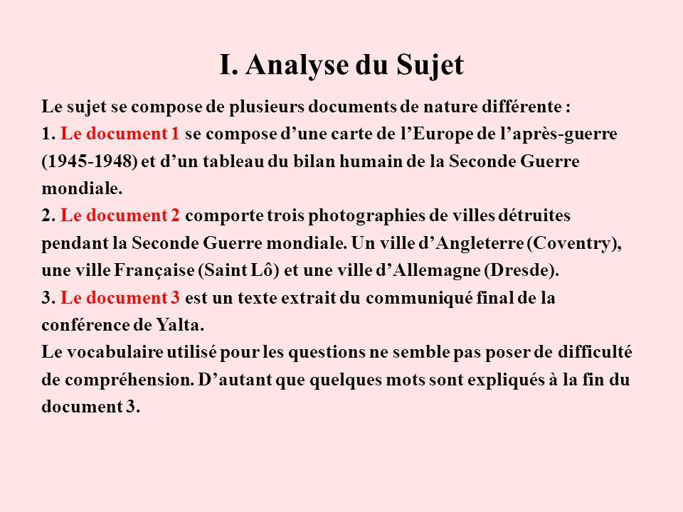 I. Analyse du Sujet Le sujet se compose de plusieurs documents de nature différente : 1. Le document 1 se compose dune carte de lEurope de laprès-guer