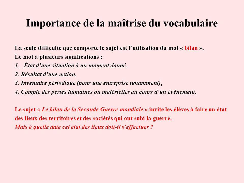 Importance de la maîtrise du vocabulaire La seule difficulté que comporte le sujet est lutilisation du mot « bilan ». Le mot a plusieurs signification
