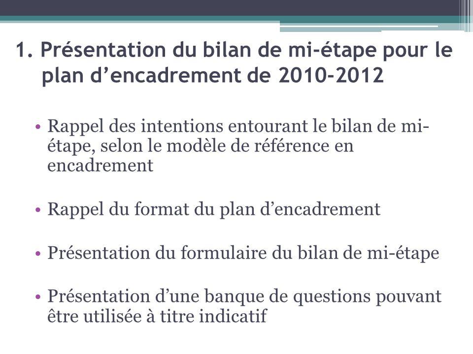 1. Présentation du bilan de mi-étape pour le plan dencadrement de 2010-2012 Rappel des intentions entourant le bilan de mi- étape, selon le modèle de