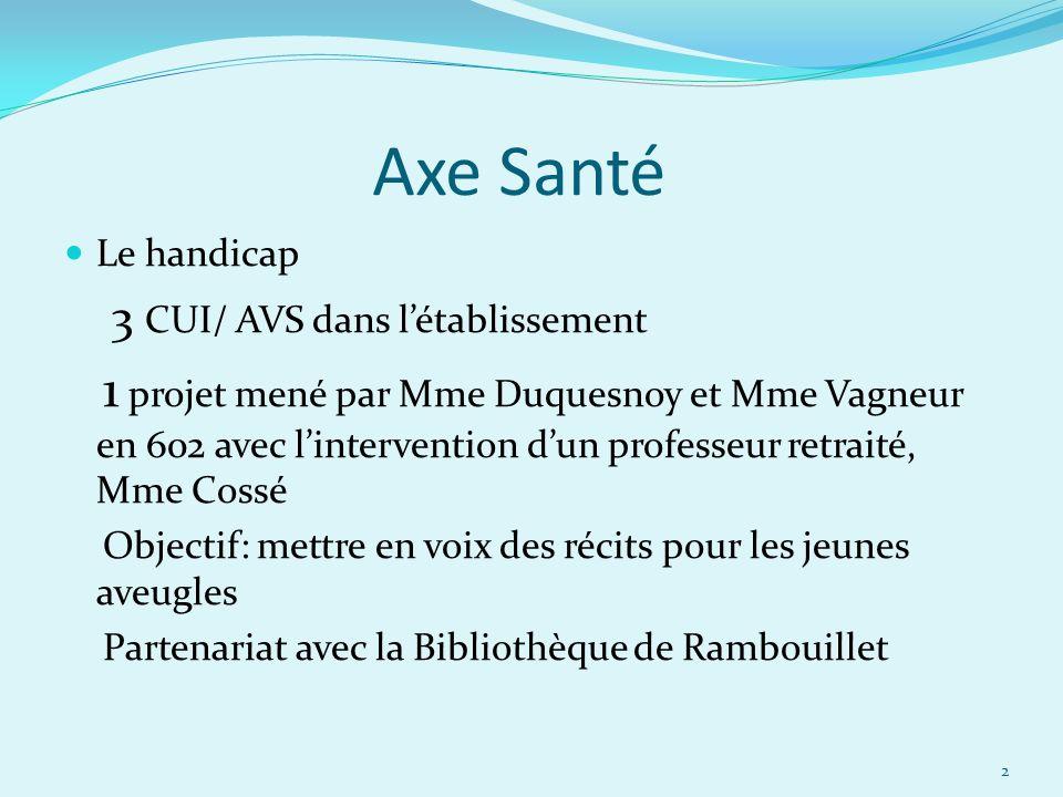 Axe Santé Le handicap 3 CUI/ AVS dans létablissement 1 projet mené par Mme Duquesnoy et Mme Vagneur en 602 avec lintervention dun professeur retraité,