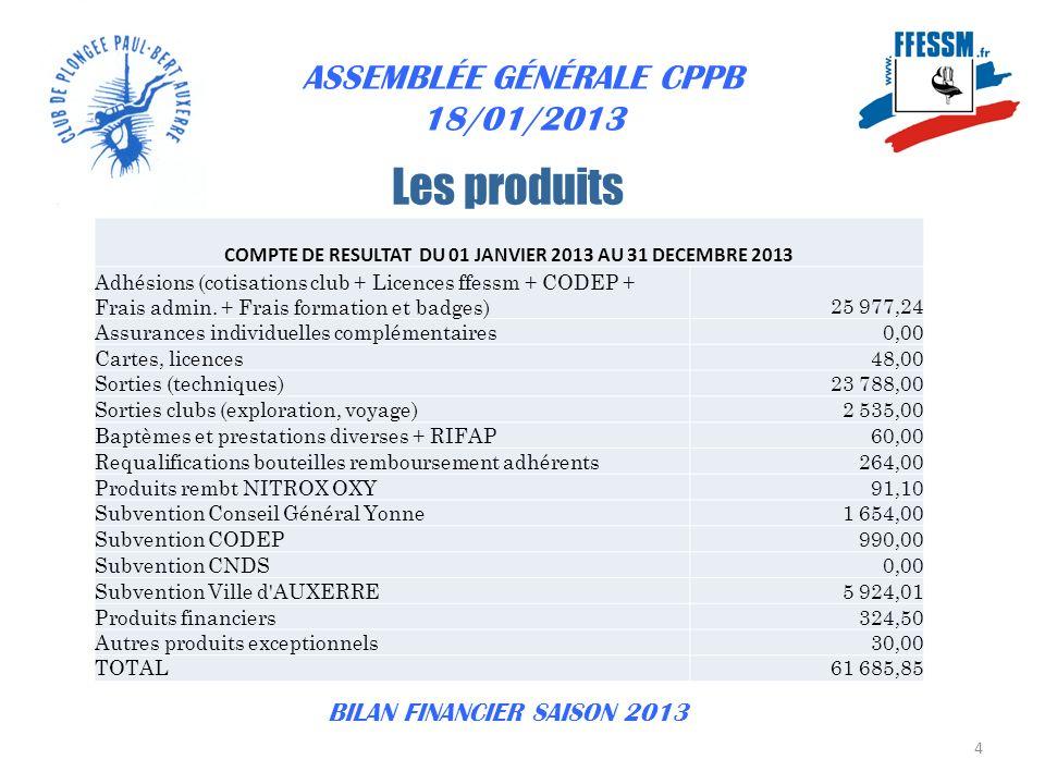 ASSEMBLÉE GÉNÉRALE CPPB 31/01/2013 15 BILAN FINANCIER SAISON 2013
