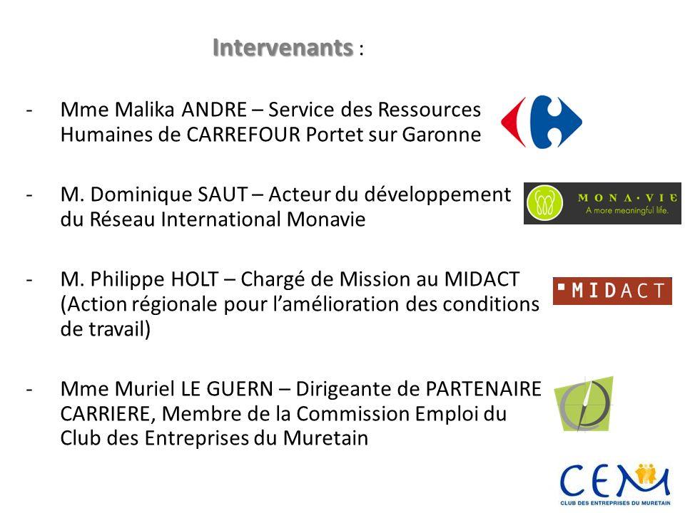Intervenants Intervenants : -Mme Malika ANDRE – Service des Ressources Humaines de CARREFOUR Portet sur Garonne -M. Dominique SAUT – Acteur du dévelop