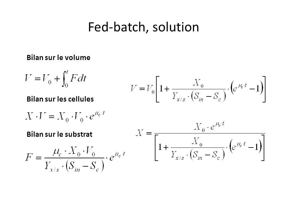 Fed-batch, solution Bilan sur le volume Bilan sur les cellules Bilan sur le substrat