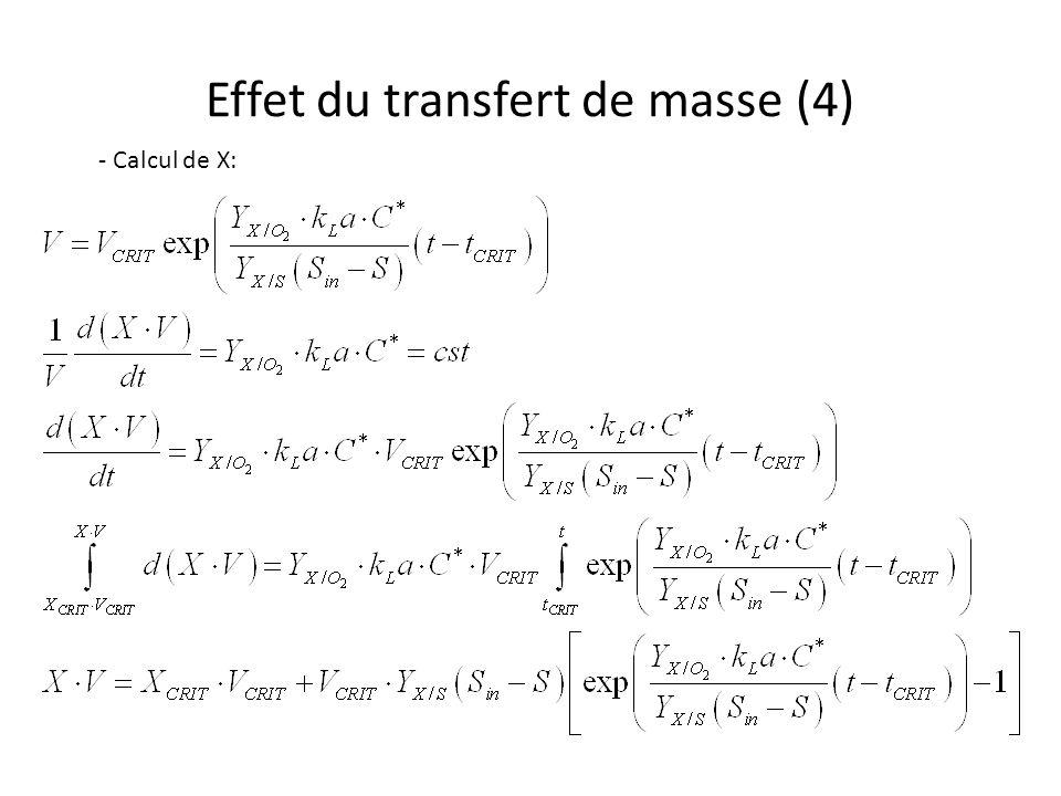 Effet du transfert de masse (4) - Calcul de X: