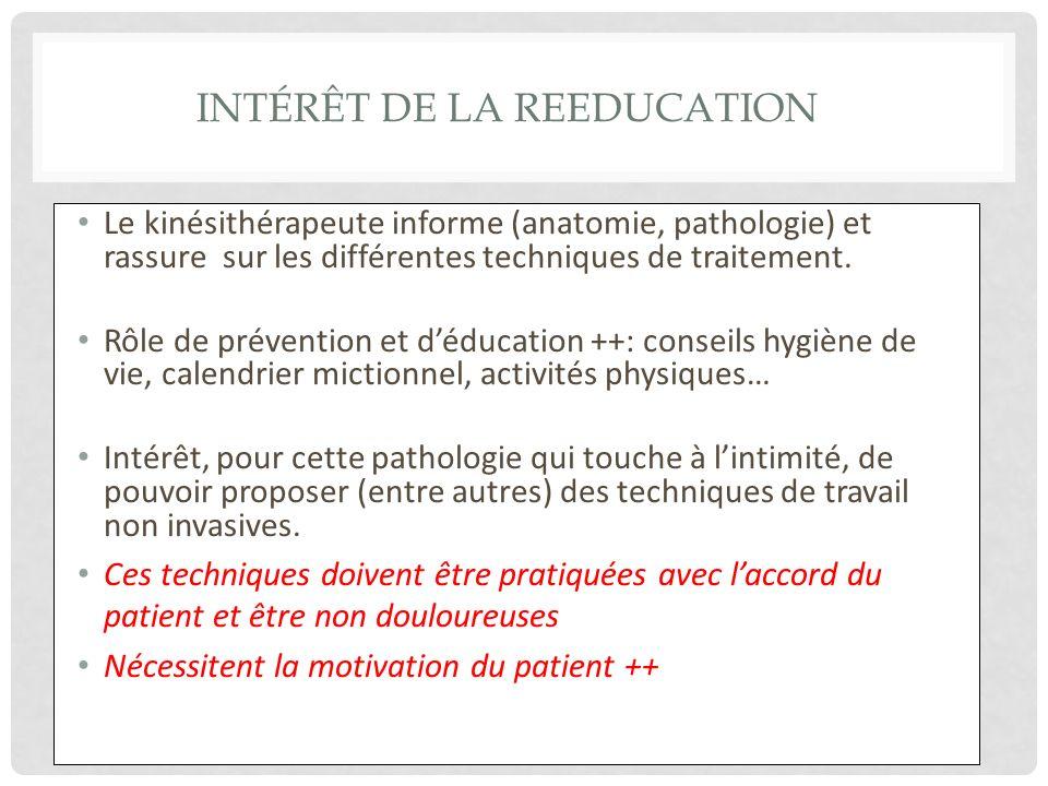 INTÉRÊT DE LA REEDUCATION Le kinésithérapeute informe (anatomie, pathologie) et rassure sur les différentes techniques de traitement. Rôle de préventi
