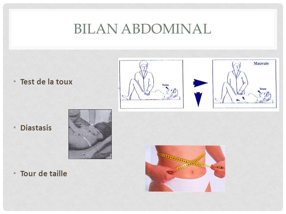 BILAN ABDOMINAL Test de la toux Diastasis Tour de taille