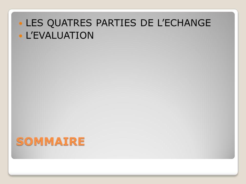 SOMMAIRE LES QUATRES PARTIES DE LECHANGE LEVALUATION