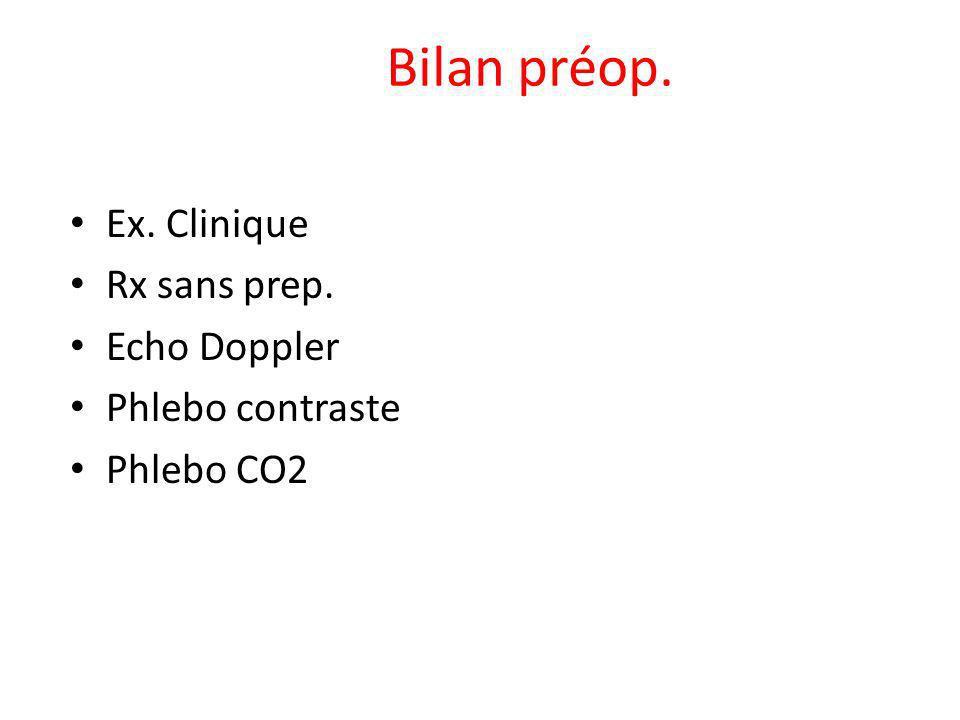 Bilan préop. Ex. Clinique Rx sans prep. Echo Doppler Phlebo contraste Phlebo CO2