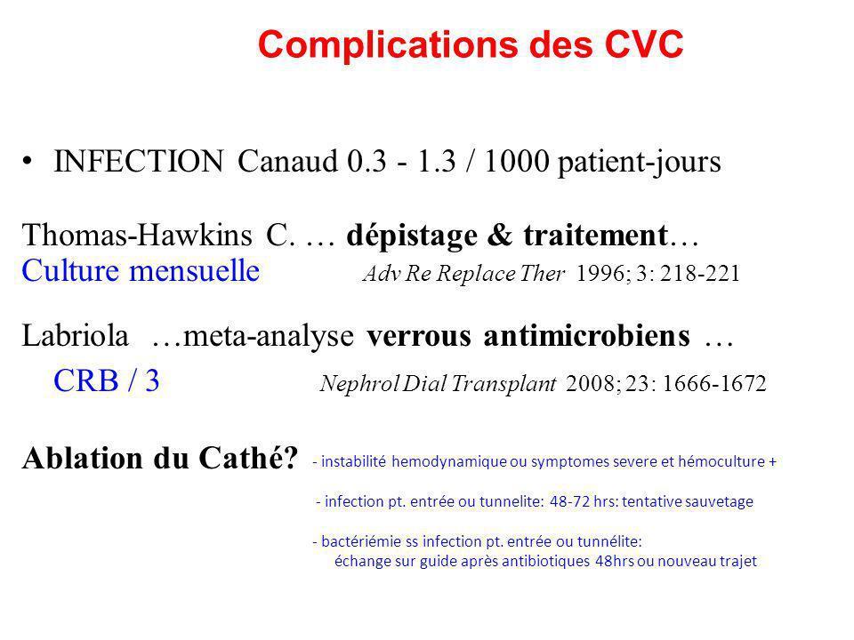 Complications des CVC INFECTION Canaud 0.3 - 1.3 / 1000 patient-jours Thomas-Hawkins C. … dépistage & traitement… Culture mensuelle Adv Re Replace The