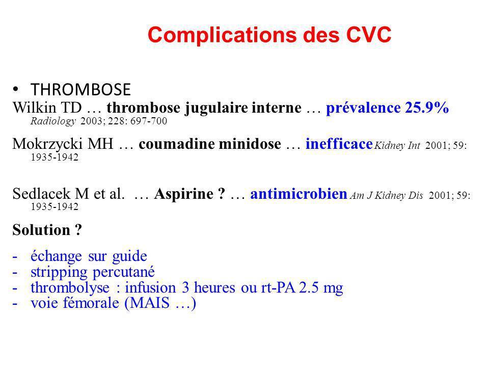 Complications des CVC THROMBOSE Wilkin TD … thrombose jugulaire interne … prévalence 25.9% Radiology 2003; 228: 697-700 Mokrzycki MH … coumadine minid