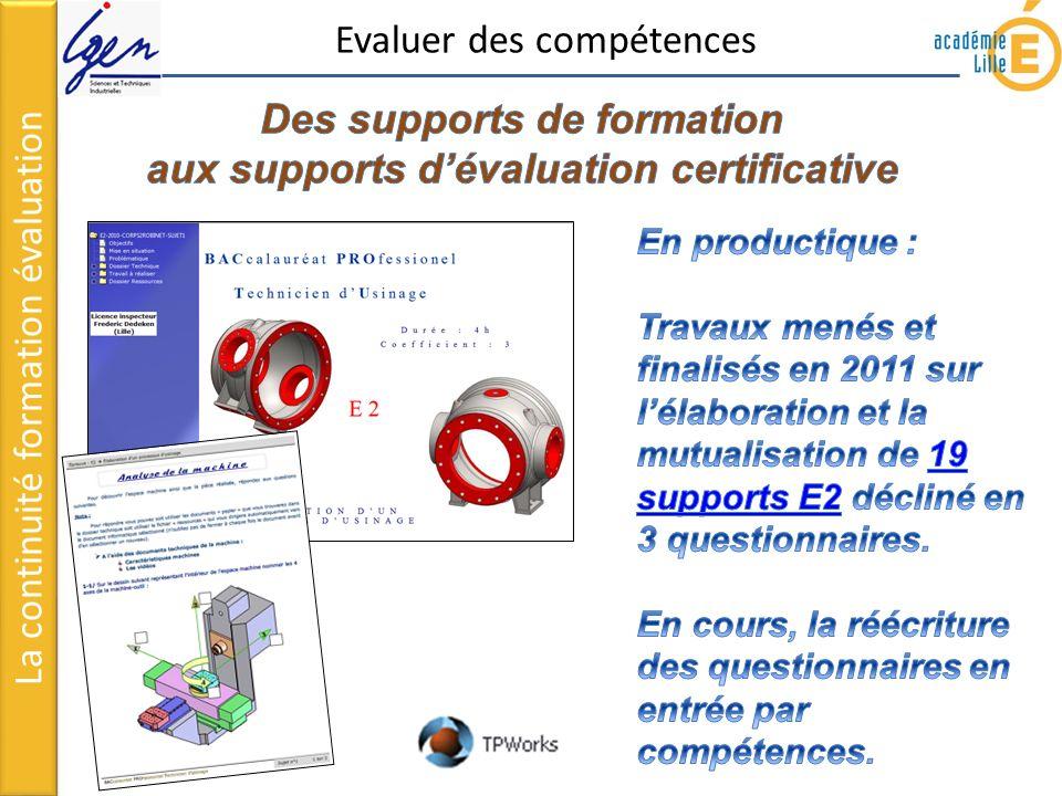 Remarques concernant lutilisation des échelles de compétences La continuité formation évaluation Echelles de compétences