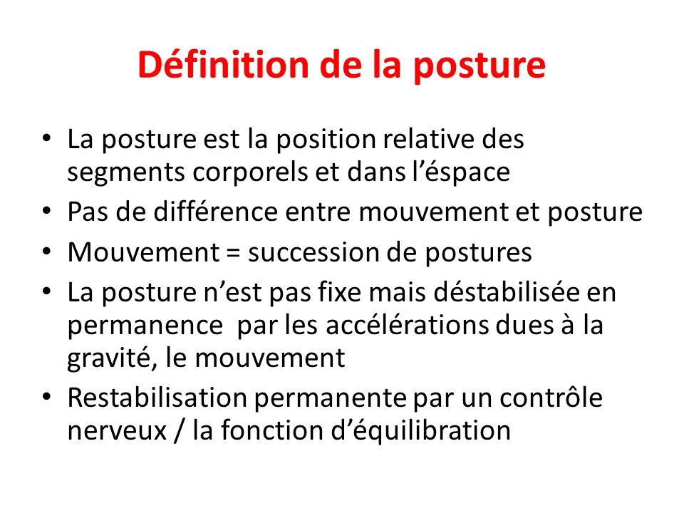 Définition de la posture La posture est la position relative des segments corporels et dans léspace Pas de différence entre mouvement et posture Mouve