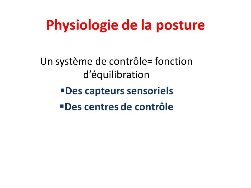 Physiologie de la posture Un système de contrôle= fonction déquilibration Des capteurs sensoriels Des centres de contrôle