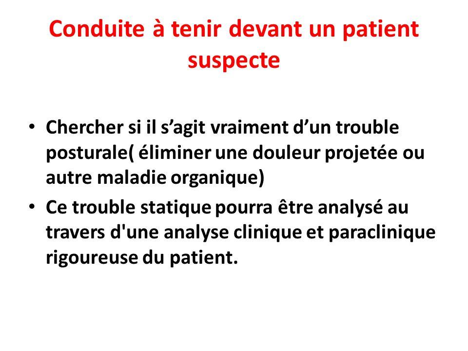 Conduite à tenir devant un patient suspecte Chercher si il sagit vraiment dun trouble posturale( éliminer une douleur projetée ou autre maladie organi