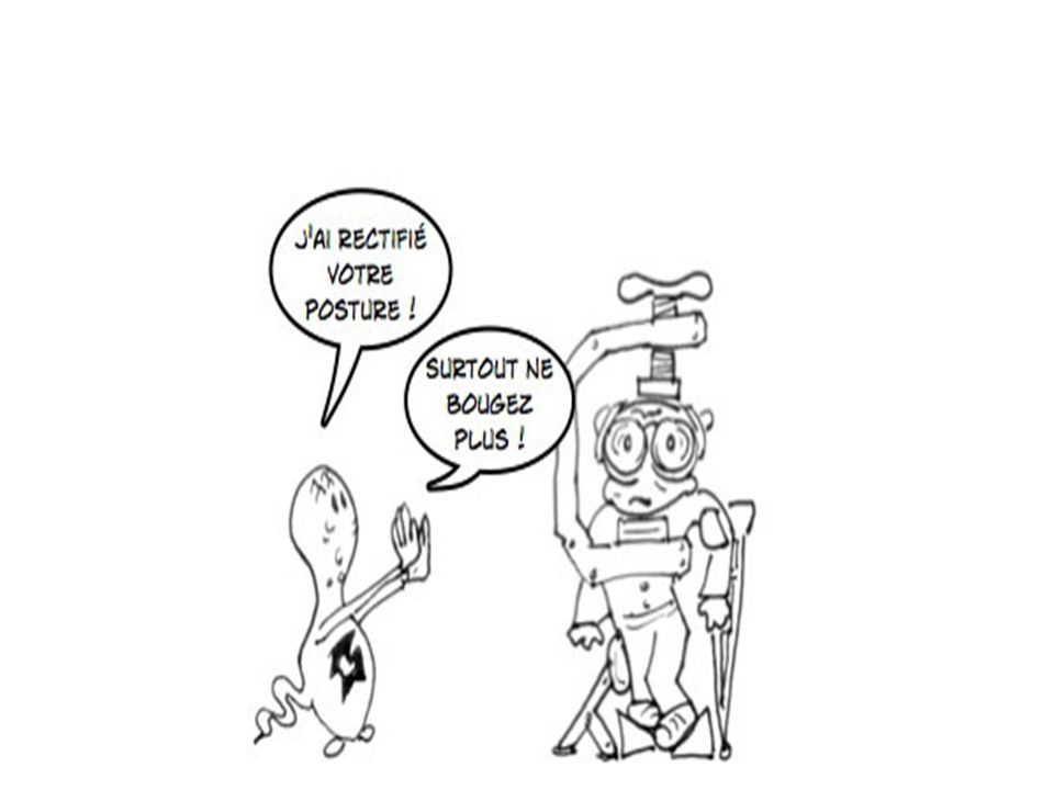 conclusion La posturologie permet donc de corriger le facteur mécanique de différentes affections du système locomoteur et vertébral, de mieux comprendre les diverses pathologies et dapporter une correction étiologique en lieu et place des habituels traitements symptomatiques dont on connaît le coût, la iatrogénicité et les possibilités de récidives La médecine du troisième millénaire se devra dêtre étiologique…