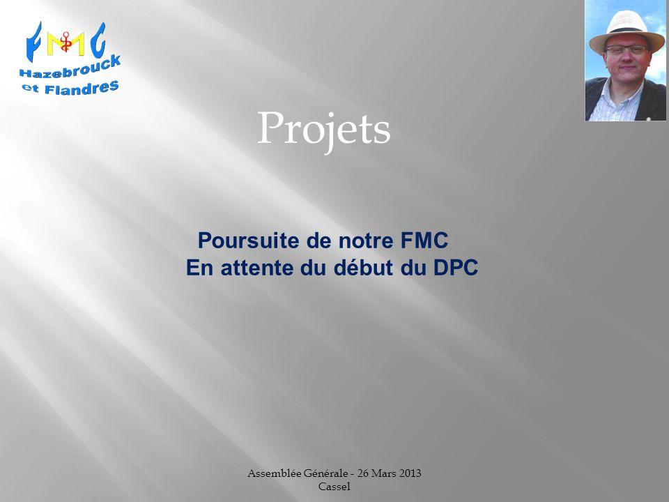Assemblée Générale - 26 Mars 2013 Cassel Projets Poursuite de notre FMC En attente du début du DPC