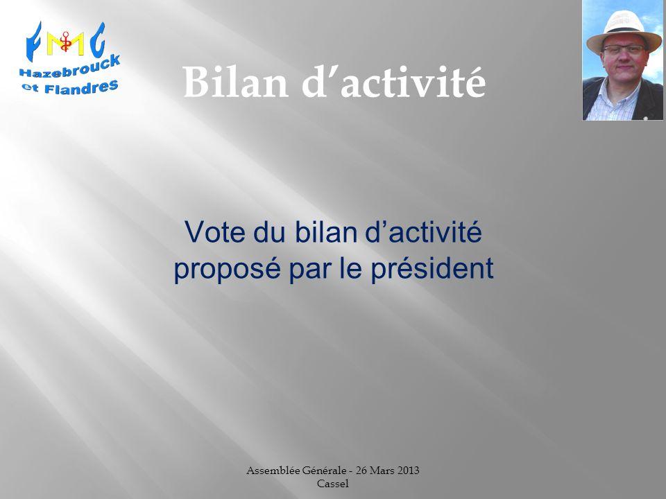 Assemblée Générale - 26 Mars 2013 Cassel Bilan dactivité Vote du bilan dactivité proposé par le président