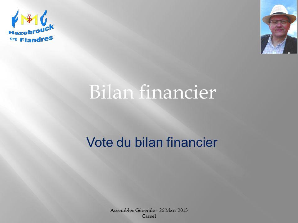 Assemblée Générale - 26 Mars 2013 Cassel Bilan financier Vote du bilan financier