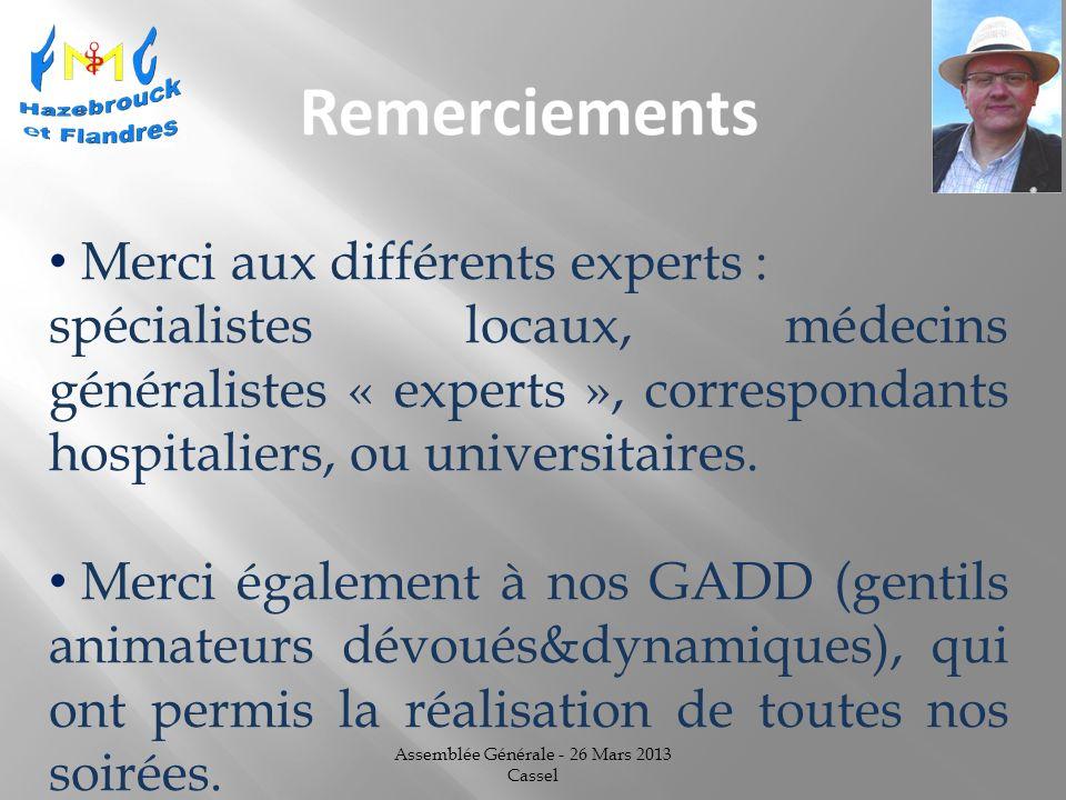 Assemblée Générale - 26 Mars 2013 Cassel Merci aux différents experts : spécialistes locaux, médecins généralistes « experts », correspondants hospitaliers, ou universitaires.