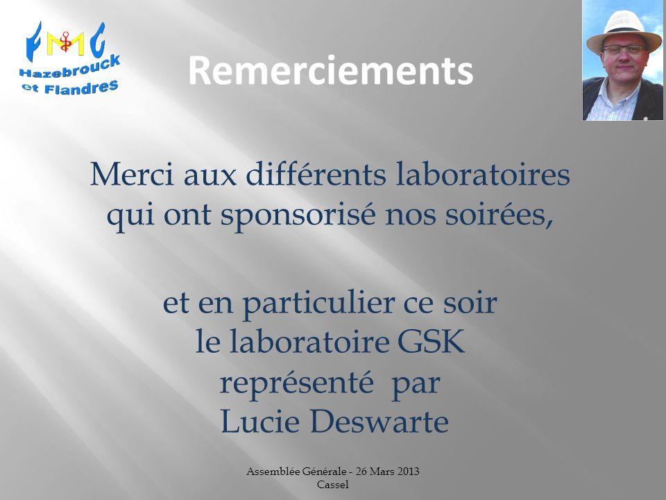 Assemblée Générale - 26 Mars 2013 Cassel et en particulier ce soir le laboratoire GSK représenté par Lucie Deswarte Merci aux différents laboratoires qui ont sponsorisé nos soirées,