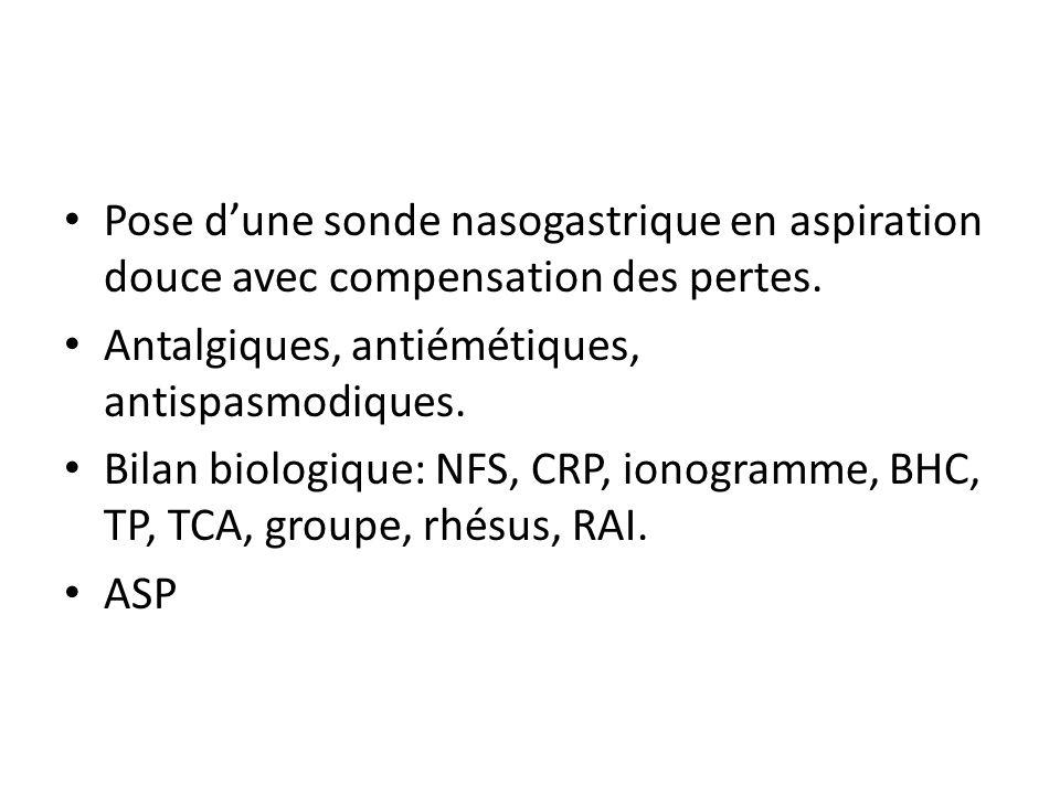 Pose dune sonde nasogastrique en aspiration douce avec compensation des pertes. Antalgiques, antiémétiques, antispasmodiques. Bilan biologique: NFS, C