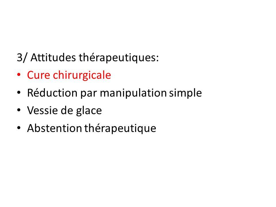 3/ Attitudes thérapeutiques: Cure chirurgicale Réduction par manipulation simple Vessie de glace Abstention thérapeutique