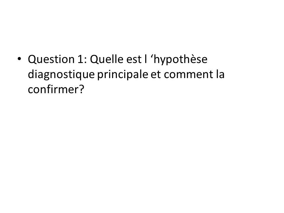 Question 1: Quelle est l hypothèse diagnostique principale et comment la confirmer?