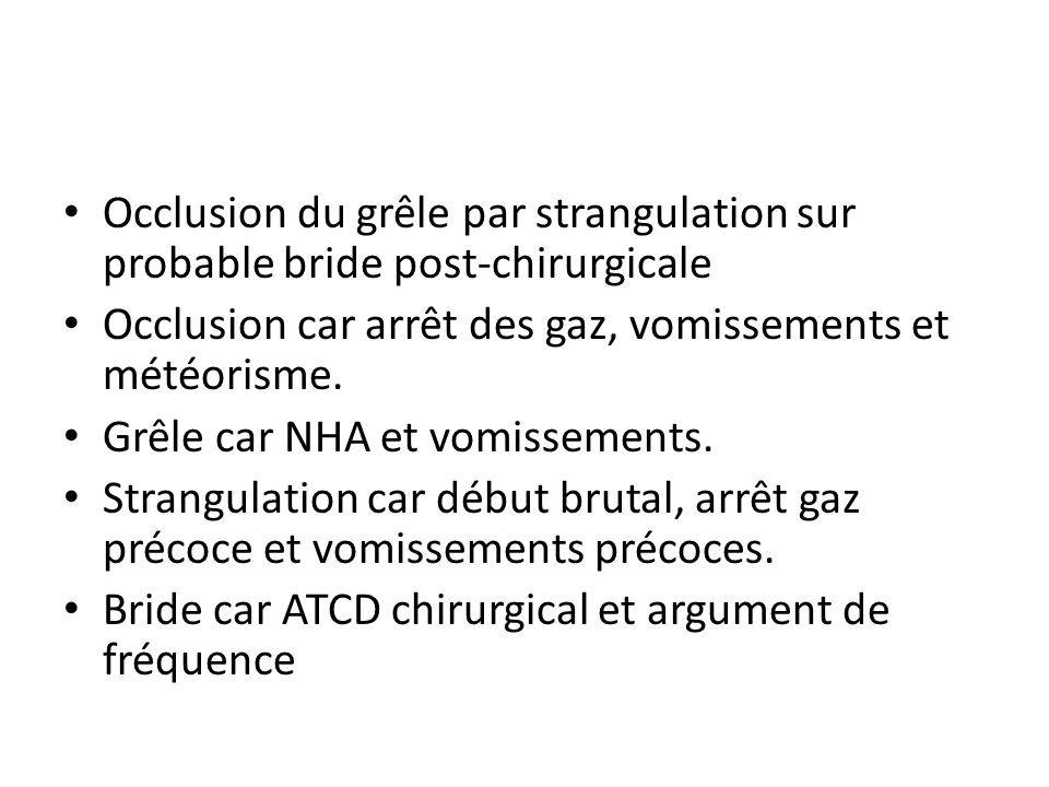 Occlusion du grêle par strangulation sur probable bride post-chirurgicale Occlusion car arrêt des gaz, vomissements et météorisme. Grêle car NHA et vo