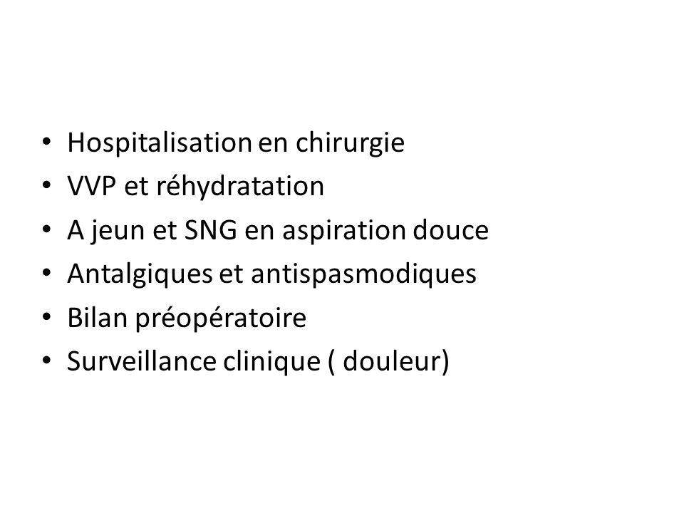 Hospitalisation en chirurgie VVP et réhydratation A jeun et SNG en aspiration douce Antalgiques et antispasmodiques Bilan préopératoire Surveillance c