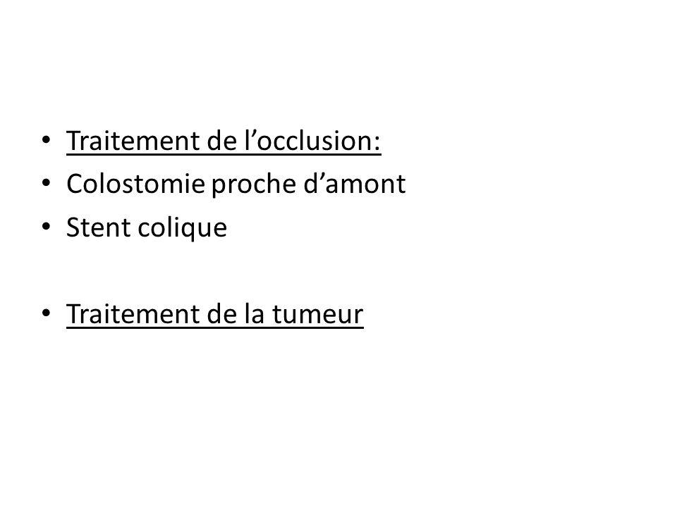 Traitement de locclusion: Colostomie proche damont Stent colique Traitement de la tumeur