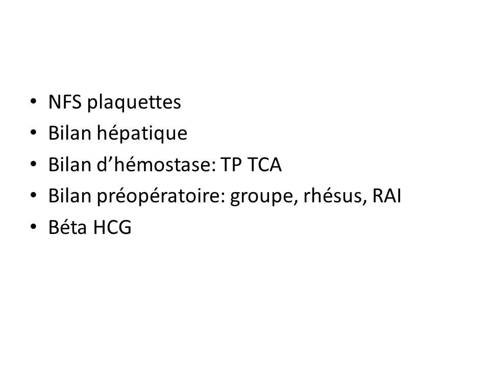 NFS plaquettes Bilan hépatique Bilan dhémostase: TP TCA Bilan préopératoire: groupe, rhésus, RAI Béta HCG