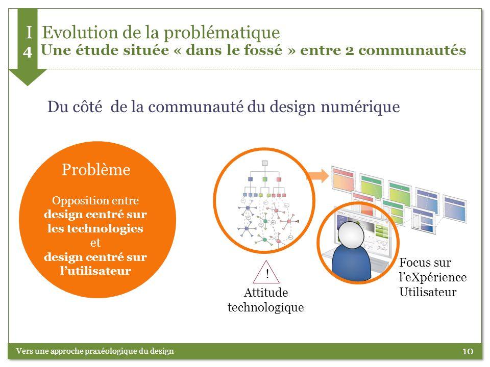 10 Problème Opposition entre design centré sur les technologies et design centré sur lutilisateur Vers une approche praxéologique du design Attitude t
