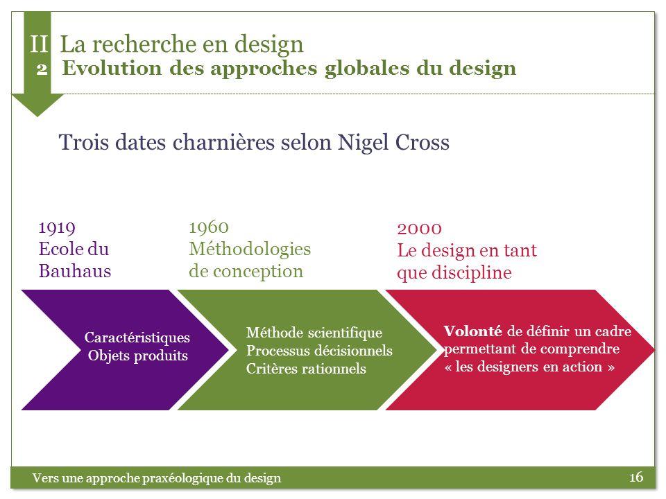 16 Trois dates charnières selon Nigel Cross Vers une approche praxéologique du design II La recherche en design 2 Evolution des approches globales du