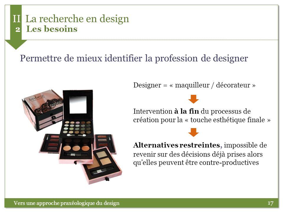 17 Permettre de mieux identifier la profession de designer Intervention à la fin du processus de création pour la « touche esthétique finale » Alterna