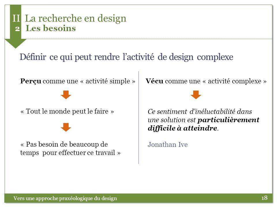 18 Définir ce qui peut rendre lactivité de design complexe « Tout le monde peut le faire » « Pas besoin de beaucoup de temps pour effectuer ce travail