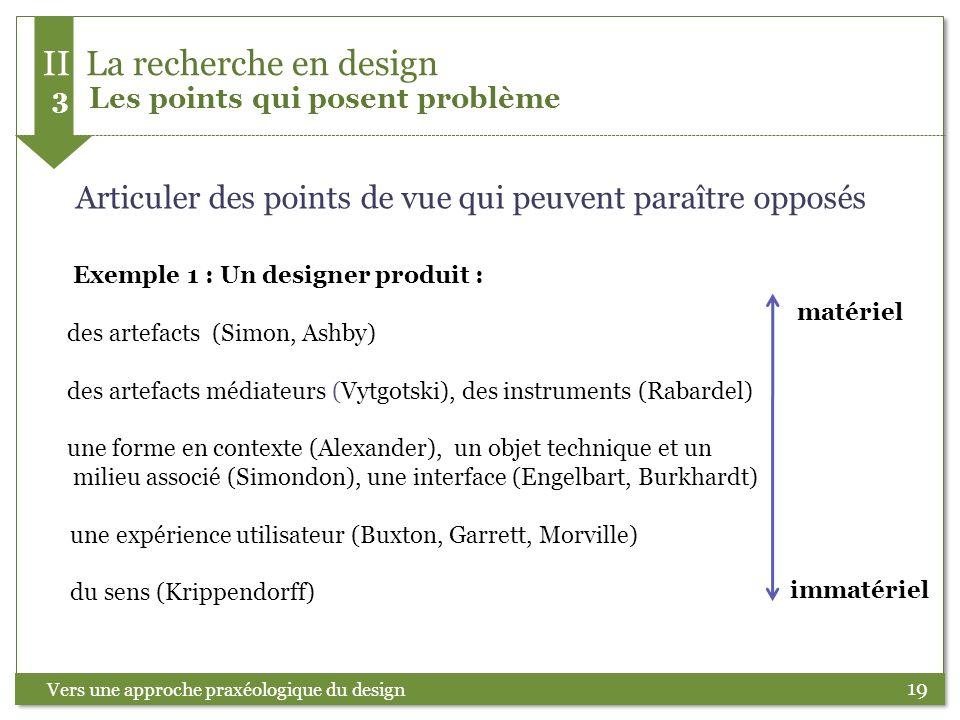 19 Articuler des points de vue qui peuvent paraître opposés Exemple 1 : Un designer produit : des artefacts (Simon, Ashby) des artefacts médiateurs (V