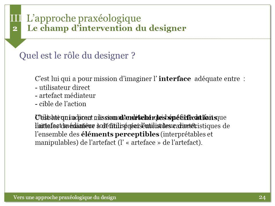24 Quel est le rôle du designer ? Vers une approche praxéologique du design III Lapproche praxéologique 2 Le champ dintervention du designer Cest lui